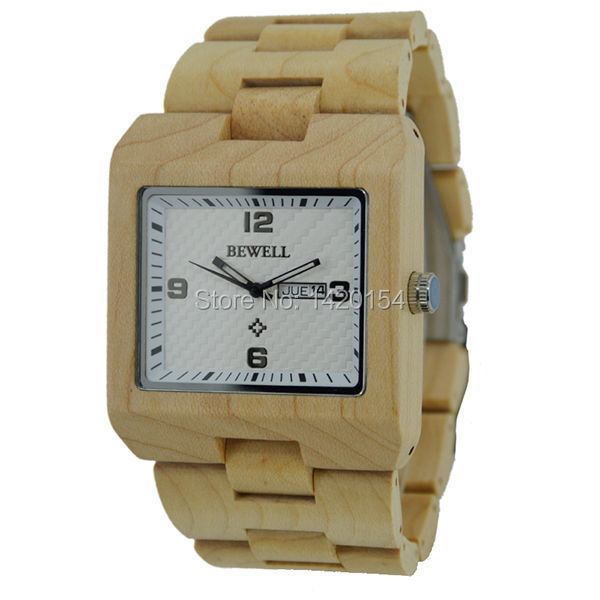 2016 Bewell Waterproof Wooden Watch with Japanese Movement Maple Wood Watch