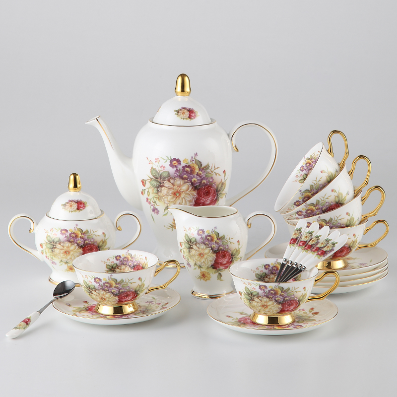 Full Set Advanced Bone China Tea Cup Set Porcelain Coffee
