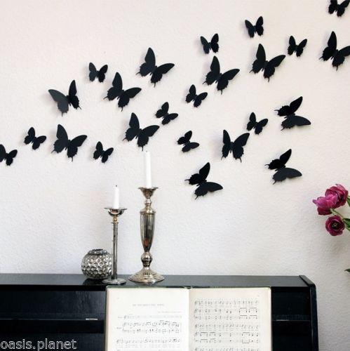 12pcs 3d butterfly wall stickers butterflies decor art / diy home
