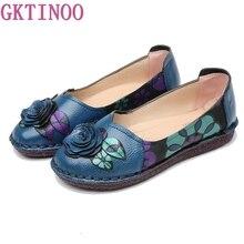 GKTINOO WARM ของแท้รองเท้าหนังฤดูหนาวฤดูใบไม้ร่วงผู้หญิง Ballet Flats Loafers LADIES SLIP บนรองเท้าแบนสีฟ้าสีดำ Zapatos Mujer