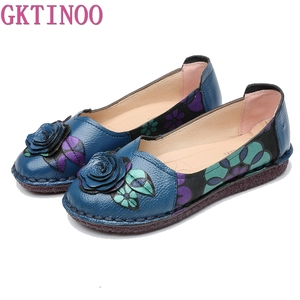 Image 1 - GKTINOO 暖かい本物のレザーシューズ冬秋の女性バレエフラットローファー女性フラット靴 Zapatos Mujer