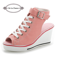 New Ladies Platform Sandals Summer Open Toe Womens Shoes Slope With Wedge Pink Black White Red
