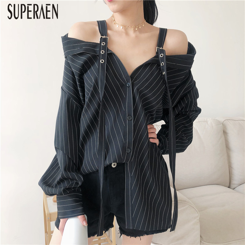 SuperAen 2018 Women's Blouses And Tops Cotton Wild Fashion Casual Stripes Off-shoulder Shirts Female Long-sleeved Loose Autumn