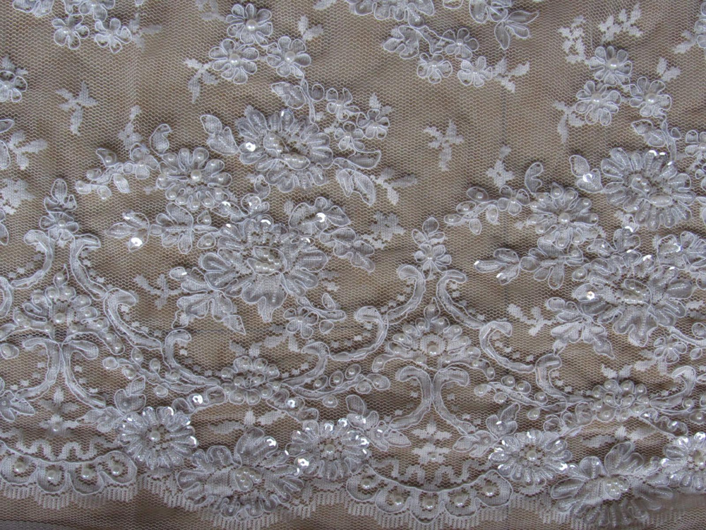 Buy embroidery beads sequins cord lace for Wedding dress fabric stores