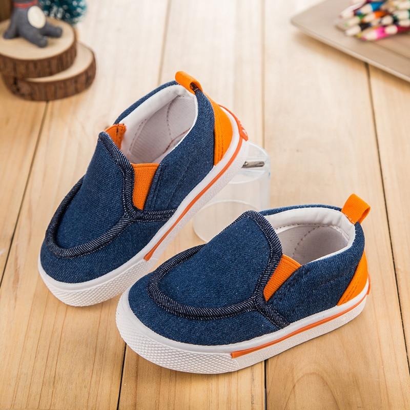 2016 جديد الدينيم الأطفال أحذية الفتيات أحذية أطفال مريحة قماش أحذية الأولاد الانزلاق على الاحذية حذاء طفل 1-3 سنوات قديم