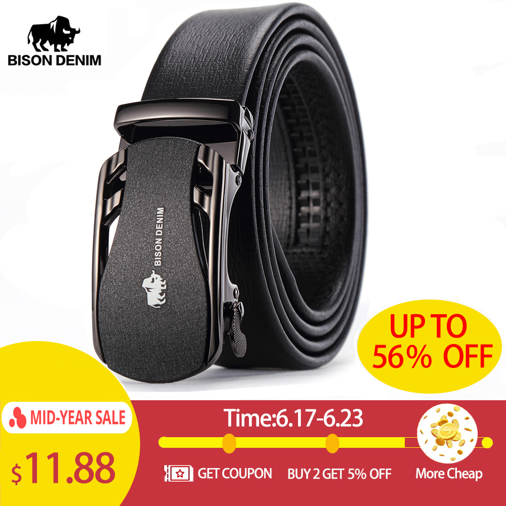 BISON DENIM   Belts   For Men Genuine Leather Cowskin Black   Belt   Automatic Buckle High Quality Business Male Men's   Belts   N71319