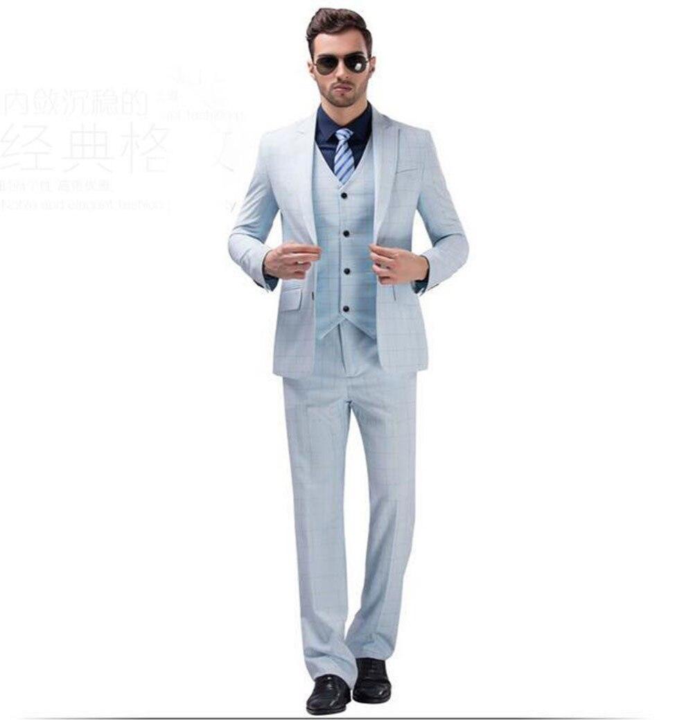 cf167f5397d3 2017 blanco azul Plaid trajes de boda padrino mejor hombre traje novio  traje esmoquin (chaqueta + Pantalones + chaleco) traje de negocios terno  noivo