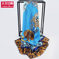 16m/m thick floral print twill silk large square scarf neckerchief luxury brand shawl summer scarves women infinity hijab lady