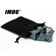 IMDG 7 teile/satz Kreative RPG Spiel Würfel Polyeder Metall Würfel DND Große Schrift Nickel Blau Farbe Digitale Spiel Würfel