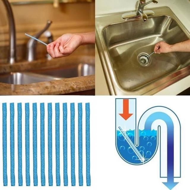 12pcs/set Sewer Rod Drain Cleaner Sticks Kitchen Toilet Bathtub ...
