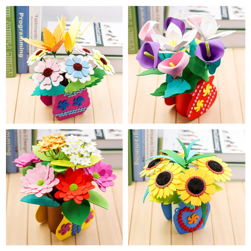 Toys For Children Crafts Kids DIY Handmade Potted Plants Kindergarten Early Learning Education Toys Montessori Teaching Aids EVA
