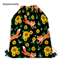 Nopersonality Printing Sunflower Fox Travel Backpack Foldable Drawstring Bag for Women Pretty Student Girls School Bookbags