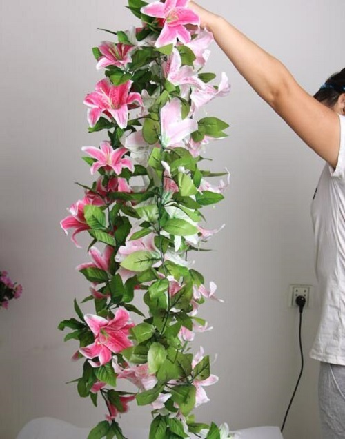 """2pcs 6.8"""" Artificial Lily Flower Ivy Garland Silk Vine Greenery For Wedding Home Decorative"""