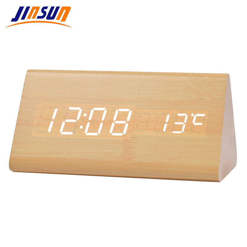 JINSUN Light Alarm Clock Digital Home Elektronisk Termometer LED Wooden Modern Table Desktop Clock Triangle Reloj despertador