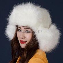HT250 Women Plush Faux Fur Stuffed Warm Winter Ear Warmer Hat NEW High Quality Trapper Hats Winter Russian Ushanka Hat