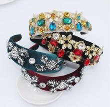 Baroque court retro catwalk bow with diamonds hairbands large flower pearl gemstone geometric headband bride accessories