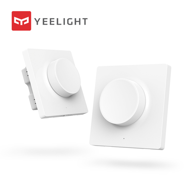 Caliente Original Xiaomi Mijia Yeelight interruptor de atenuador inteligente ajuste inteligente Luz de apagado todavía funciona 5 en 1 interruptor inteligente de control