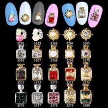 100PCS botella de Perfume diamantes de imitación flor 3d Nail Art decoraciones, aleación Nail Sticker Charms joyería para esmalte de uñas **** 3261 3280