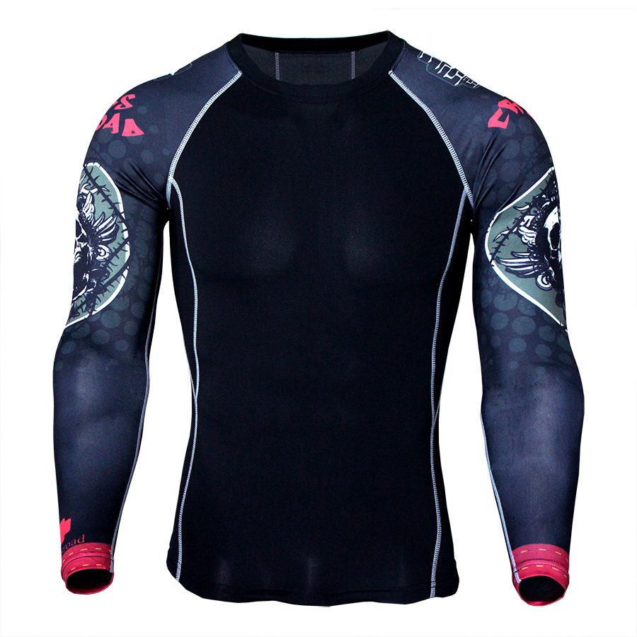 Flower arm sports quick drying clothes men s T shirt running elastic training compression clothing