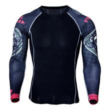 Цветок рука спортивная быстросохнущая одежда мужская футболка Бег Эластичный Обучение компрессионные одежда