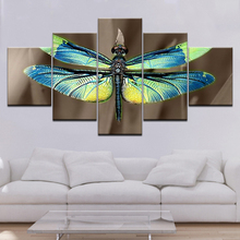 Modern Pictures Canvas Modular HD Printed 5 Pieces Insect Color Dragonfly Paintings Decor Living Room Wall Home Art Poster Frame