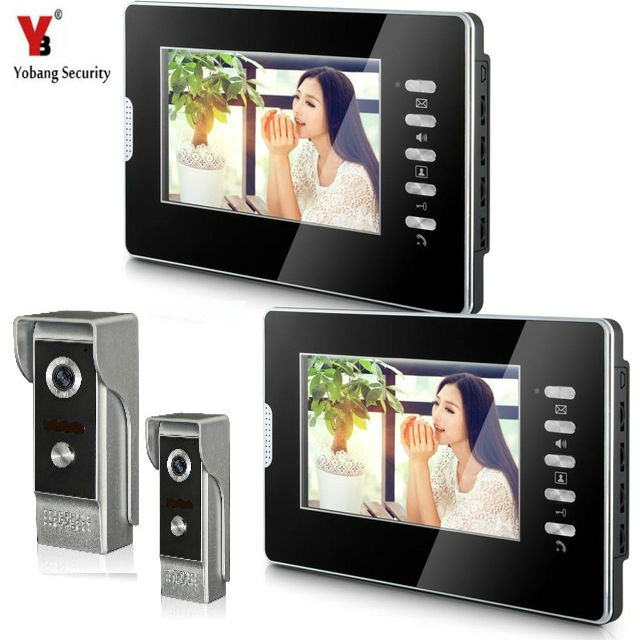 YobangSecurity 7 Inch Monitor Video Doorbell Phone Video Door Night Vision Camera Monitor Security System 2 Camera 2 Monitor.