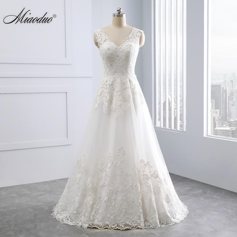 Miaodu Romantic Wedding Dress A-Line With Lace Appliques Robe De Mariage Illusion Back Count Train Bridal Gowns Vestido De Noiva