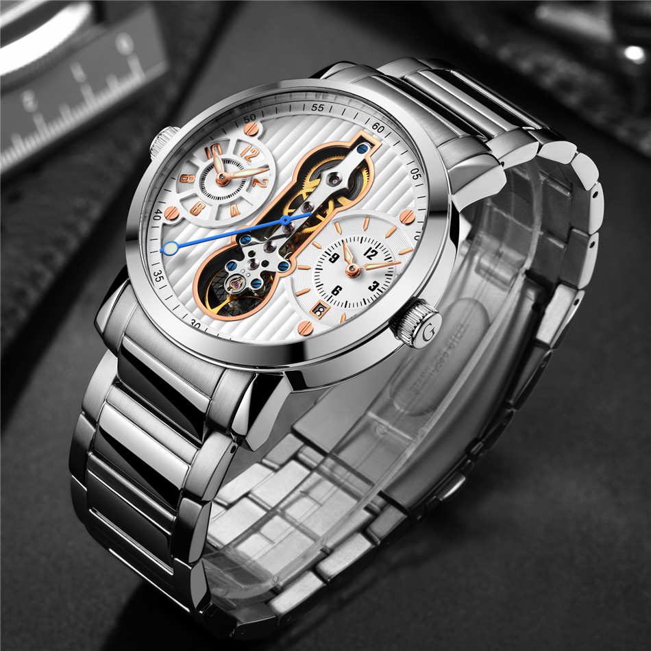 East Luxury Tourbillon Design Silver Stainless Steel Mechanical Mens Watches Top Brand Luxury Automatic Wrist Watch Clock 2019East Luxury Tourbillon Design Silver Stainless Steel Mechanical Mens Watches Top Brand Luxury Automatic Wrist Watch Clock 2019
