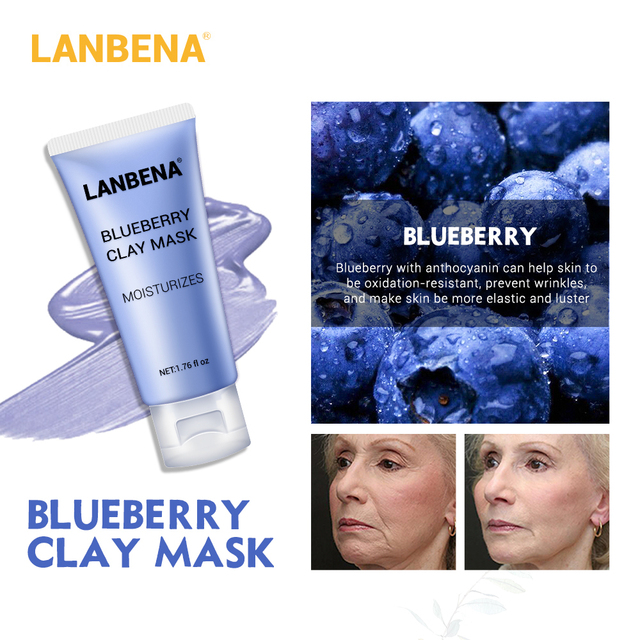LANBENA Face Mask Skin Care Black Masks Mung Bean Clay Masks Facial Mask Blueberry Rose Bamboo Charcoal Blackhead Remover Mask 3