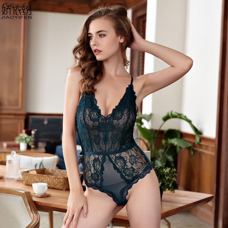 Sexy Lace Onesies Sleepwear Ultra Thin Transparent Sleeveless Women's Pajamas Embroidery Underwear Comfortable Soft Nightgown