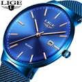 Бренд LIGE, ультра тонкие Роскошные мужские часы из стали, новая мода, синие кварцевые повседневные спортивные часы, простые водонепроницаемы...