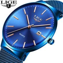 LIGE العلامة التجارية رقيقة جدا الفاخرة رجالي الصلب ساعات موضة جديدة الأزرق الكوارتز ساعة رياضية عادية بسيطة مقاوم للماء ساعة اليد للرجال