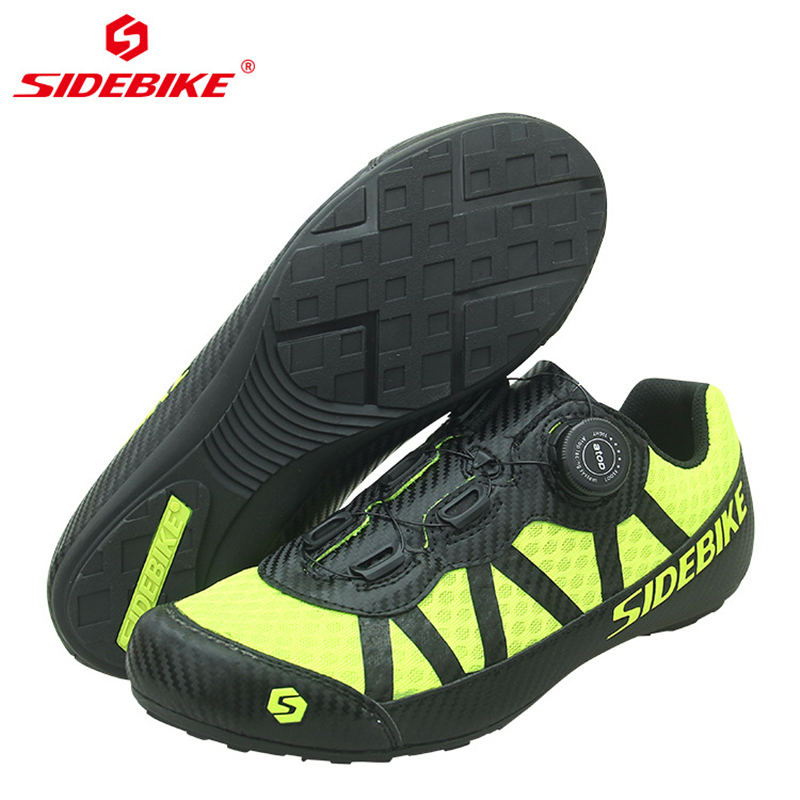 Купить с кэшбэком SIDEBIKE Breathable Mesh Men Women Road Bike Shoes for Cycling Shoes Ultralight Non-Lock Non-slip Mountain Bicycle MTB Sneaker