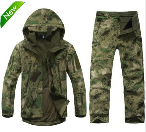 TAD Tactical Gear Soft Shell Camouflage Utendørs Jakke Set Menn Army Avslappet Vanntett Hunter Varmt Klær Military Hike Jacket