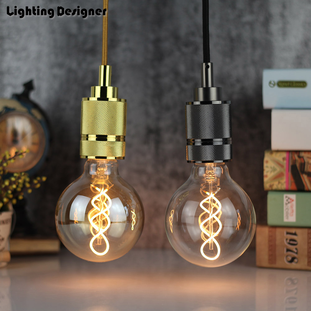 Double Edison Bulb Lamp: G95 Edison Bulb LED E27 Double Helix Vintage Filament