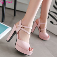 QUTAA 2019 Women Pumps Fashion Women Shoes Spring/ Autumn All Match Square High Heel Wedding Shoes Ladies Pumps Size 34 43