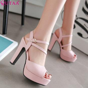 1f584b2a QUTAA 2019 mujeres bombas zapatos de mujer de moda Primavera/otoño todo  encuentro cuadrada tacón alto, zapatos de boda, zapatos mujer bombas tamaño  34-43