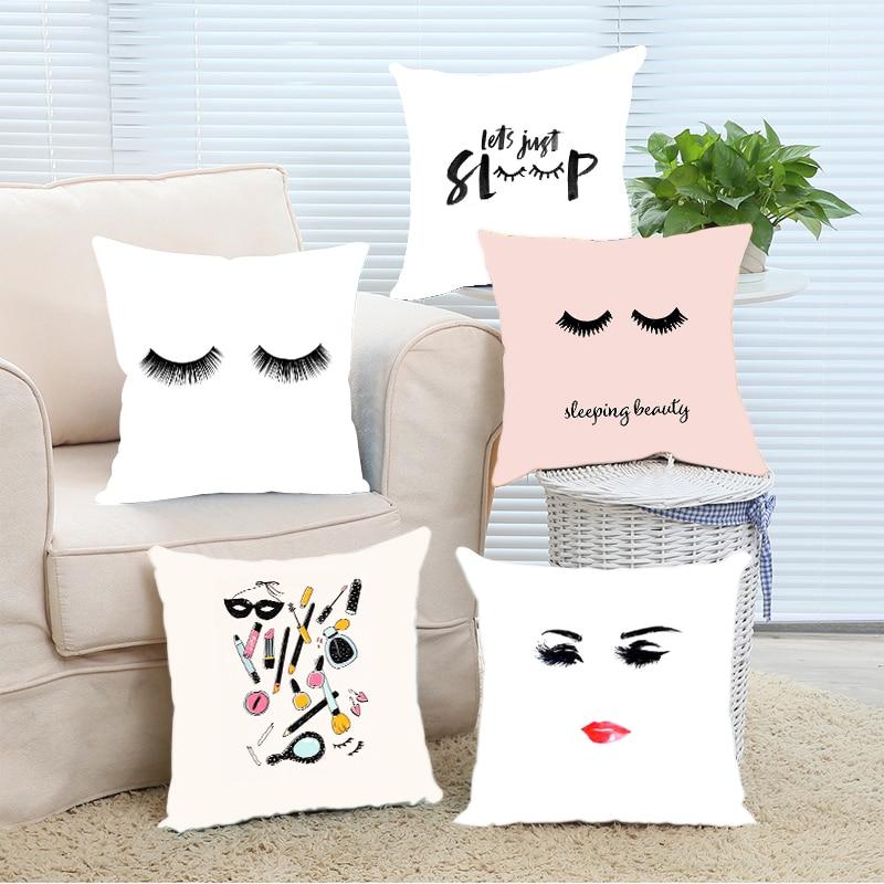 Luxury Modern False Eyelash Pink Sleeping Beauty Lashology Nice Throw Pillowcase Cover Invisible Zipper Chair Hotel