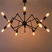 American Industrial Style Modern Minimalist Iron Office Spider Shaper Chandelier Living Room Study Creative Personality Led