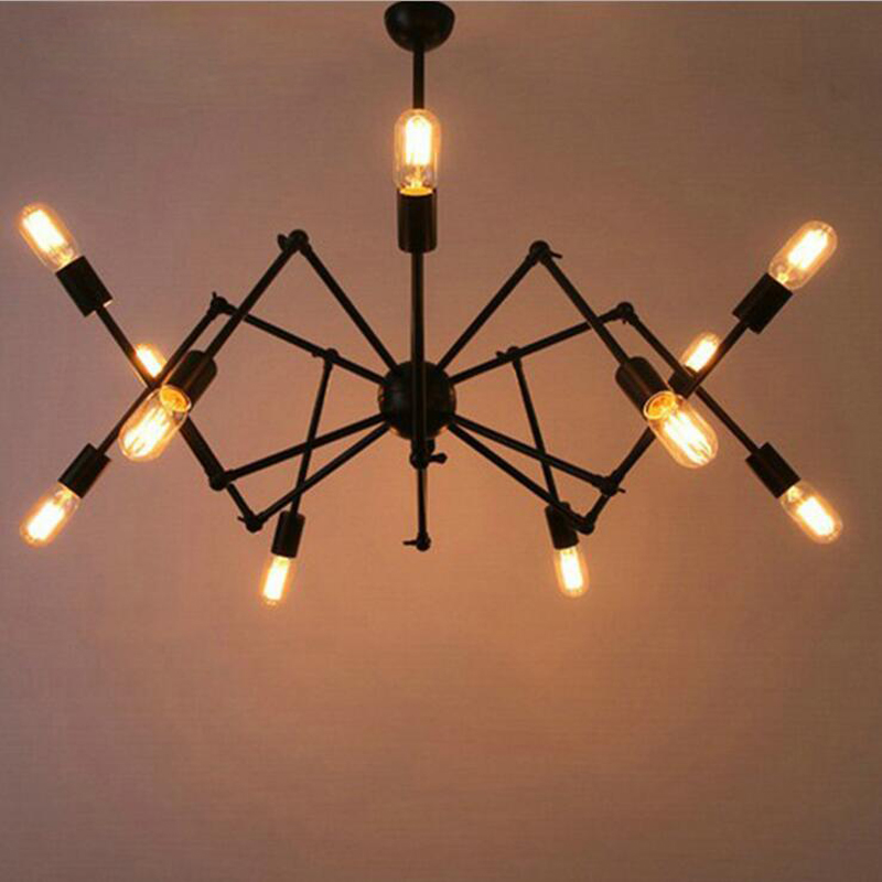 American industrial style modern minimalist iron office spider shaper chandelier living room study creative personality led lamp the postmodern chandelier of the scandinavia minimalist american led lamp house creative personality chandelier fg297