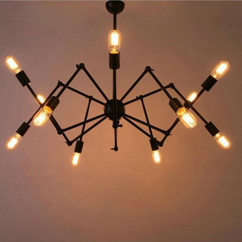 €193.04 56% de réduction|Style industriel américain moderne minimaliste fer  bureau araignée shaper lustre salon étude créative personnalité lampe à ...