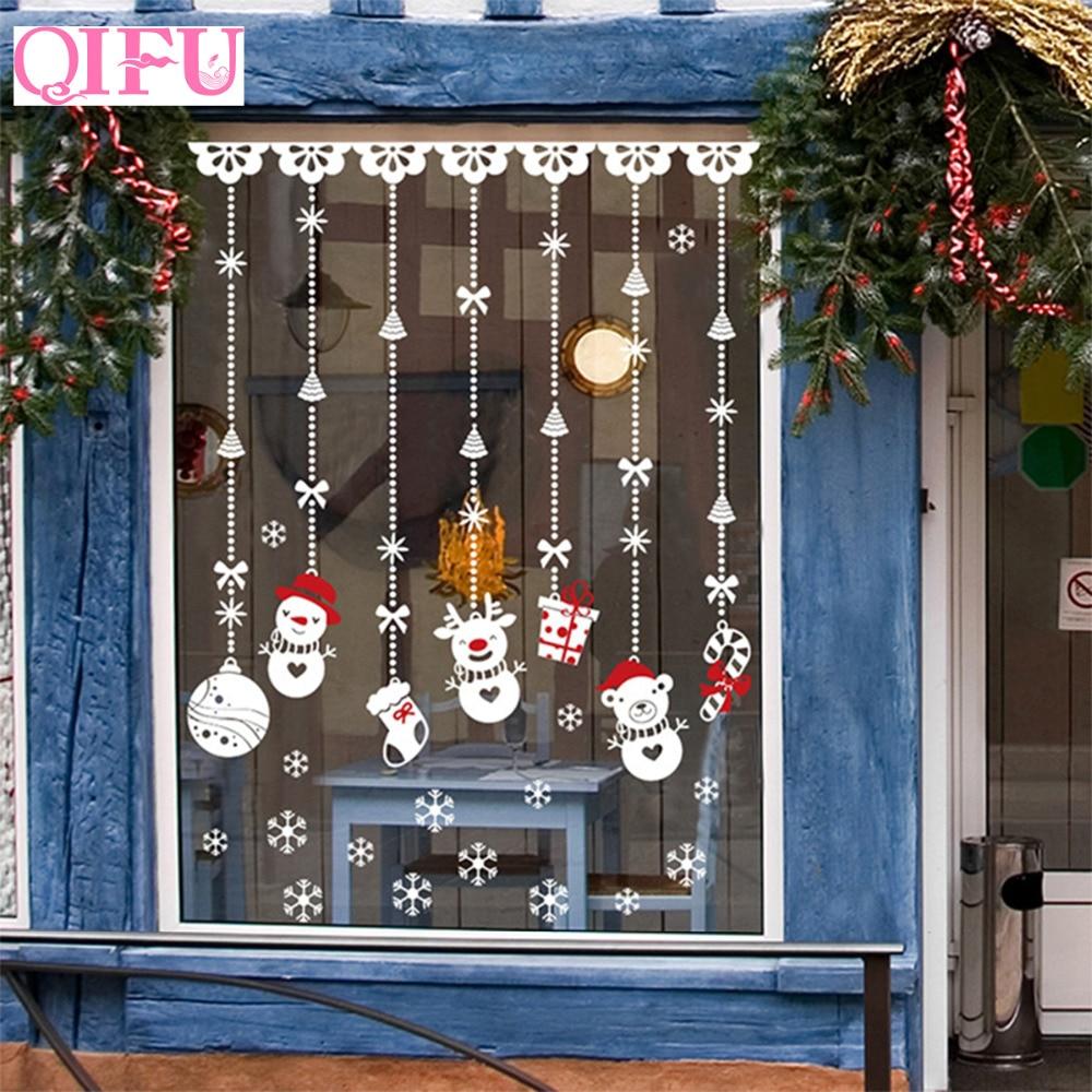 QIFU décorations de noël autocollant de fenêtre décoration de noël pour la maison décor de noël joyeux noël 2019 bonne année 2020