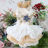 Pet Dog Dress Golden Shining Handmade Embroidered Short Style Wedding Tutu Dress For Small Dogs Lace Feather Skirt Chihuahua Pug