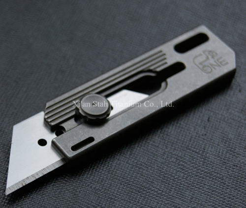 Titanium TC4 70mm Cutter Spring Sliding Blade Pocket Knife Stone washed Shell Surface with Trapezoid Blade
