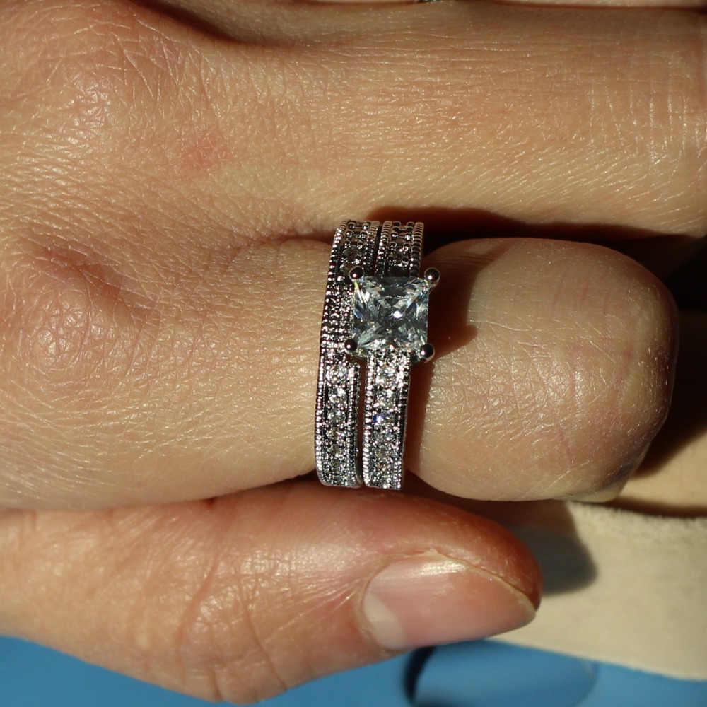 Choucong Vintage แหวนเจ้าสาวชุด 5A Zircon หิน 10KT ทองคำขาวงานแต่งงานแหวน Finger Jewepry