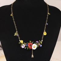 New Plants Series Red Rose Daisy Gold Really Plated Ladybug Crystal Necklace Jewelry Women Gift Free Shipping