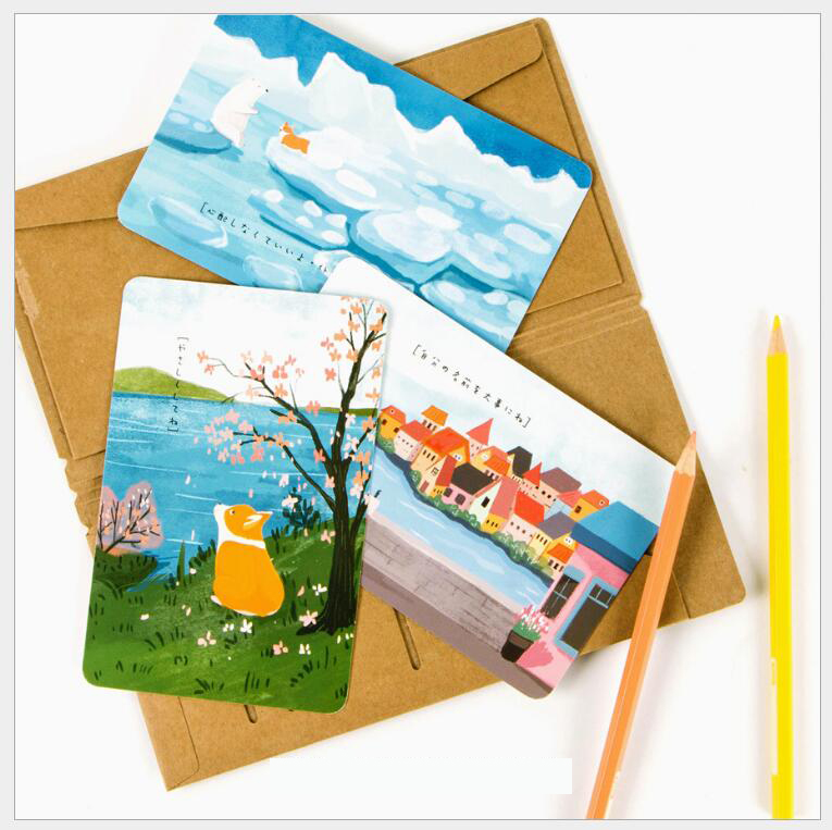 30 Sheets /Lot Cute Cartoon Corgi Postcard Greeting Wish Card Christmas And New Year Fashion Gifts 14X 9cm