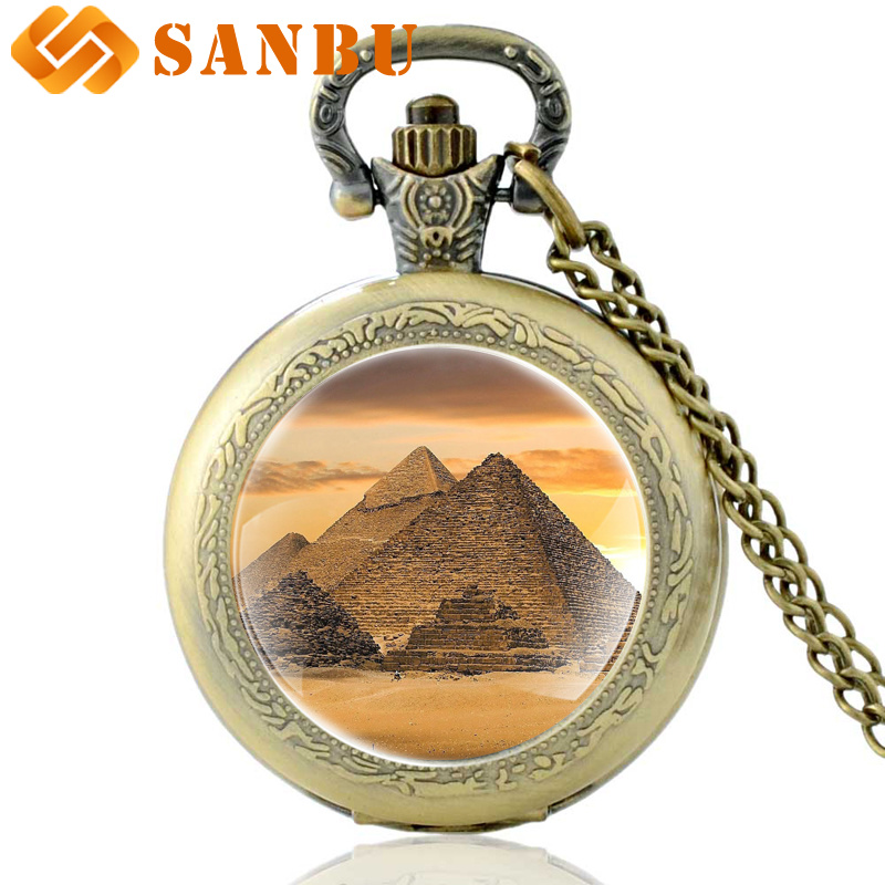 Vintage Bronze Egyptian Pyramids Quartz Pocket Watch Retro Men Women Jewelry Necklace