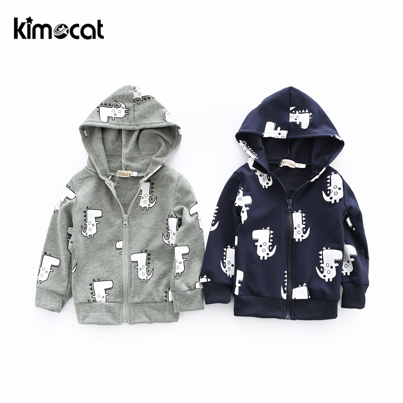 Kimocat Baby Boy Girl Clothes Long Sleeve Cotton Outerwear&Coats Cartoon Cute Little Dinosaur Prints Hooded Casaco Infantil