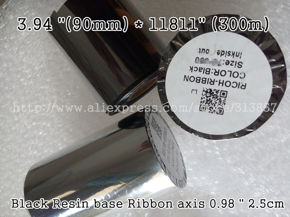 "Address shipping label paper tags printer Use For Black Resin base Ribbon 3.94 ""(100mm) * 11811"" (300m) axis 0.98 "" 2.5cm"